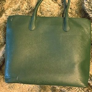 H&M | Emerald Green Faux Leather Tote